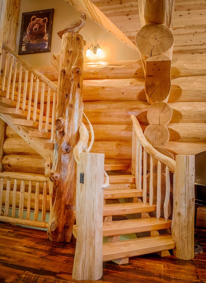 Gastineau Log Homes for a Rustic Staircase with a Mountain Resort and 2013 Parade Home Moose Ridge Cabin Log Home by Mountain Log Homes & Interiors