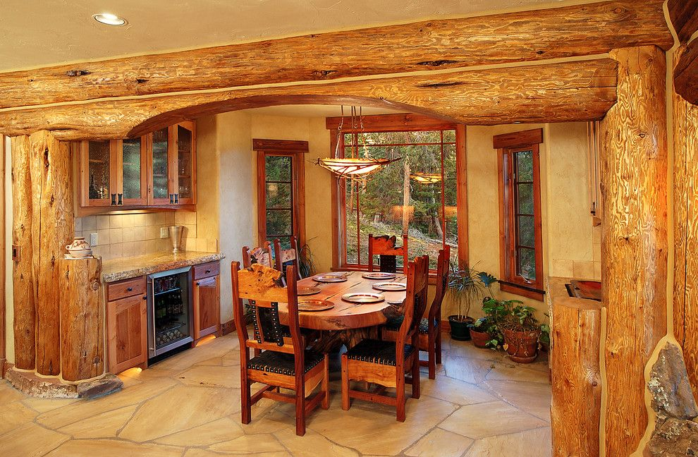 Gastineau Log Homes for a Traditional Dining Room with a Wood Timbers and Hybrid Log House by Sitka Log Homes