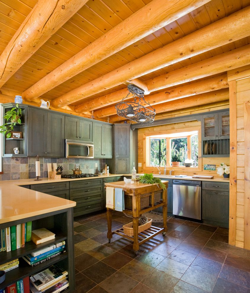 Gastineau Log Homes for a Traditional Kitchen with a Kitchen Cart and Chesapeake Bay Waterfront Log Home by Katahdin Cedar Log Homes