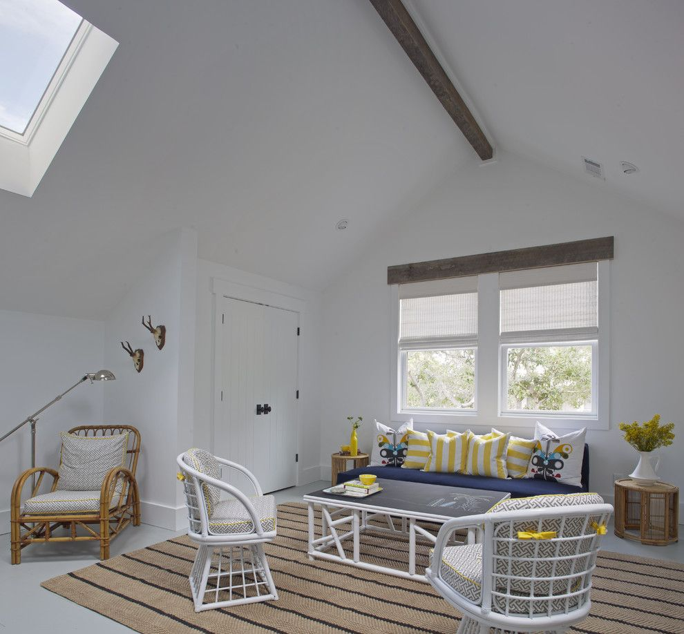 Gdc Home for a Beach Style Family Room with a Wicker and Sleeping Loft - Kid's Hangout Spot by Rethink Design Studio