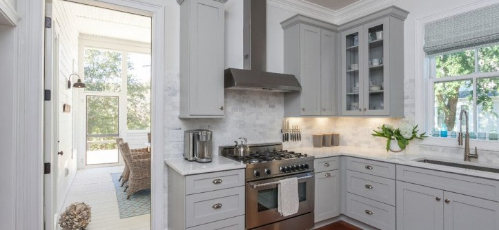 Gdc Home for a Beach Style Kitchen with a Gray and White and Cottage Design by Deirdre Stevens by GDC Home