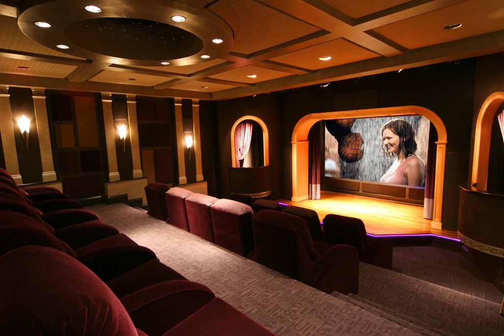 Gehan Homes for a Contemporary Home Theater with a Ceiling Lighting and a Theater with a Stage by Gramophone
