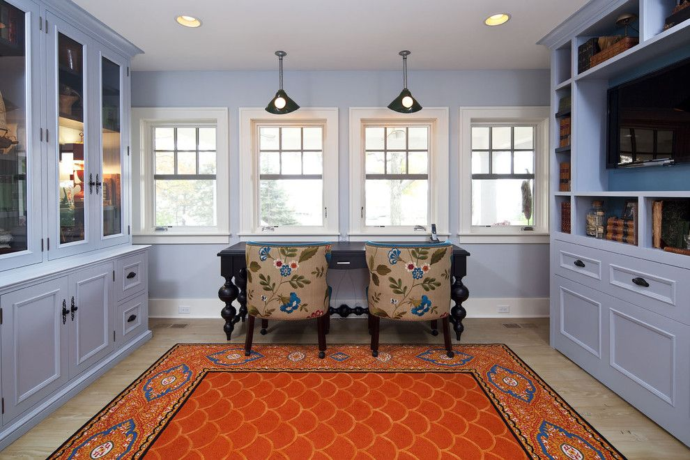 Gehan Homes for a Traditional Home Office with a Orange Area Rug and Office by Hendel Homes