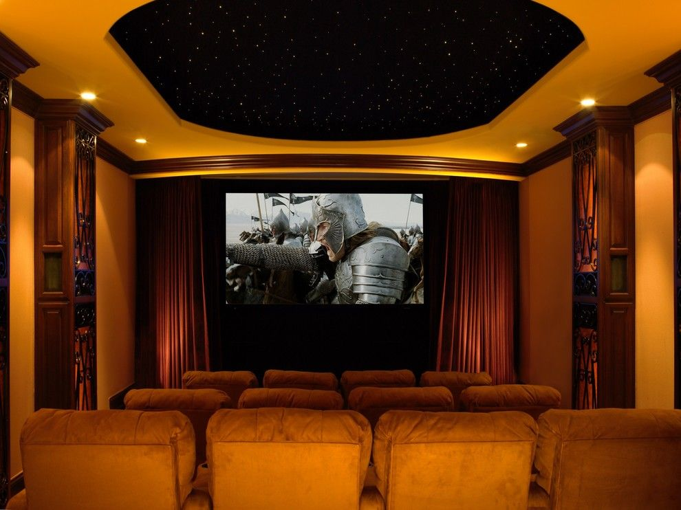 Gehan Homes for a Traditional Home Theater with a Beige Wall and Malibu Home Theaters by via – Los Angeles