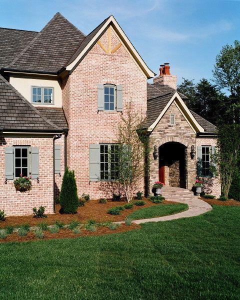General Shale Brick for a Traditional Exterior with a Cypress Shutters and Hill Residence by Missy Caulk, Allied ASID