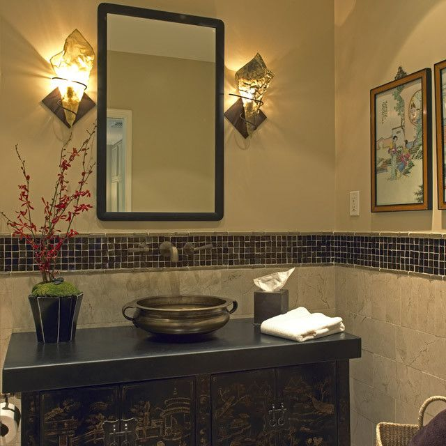 George Morlan Plumbing for a Asian Bathroom with a Countertop and Bridge Design Studio by Diane Bennett Bedford