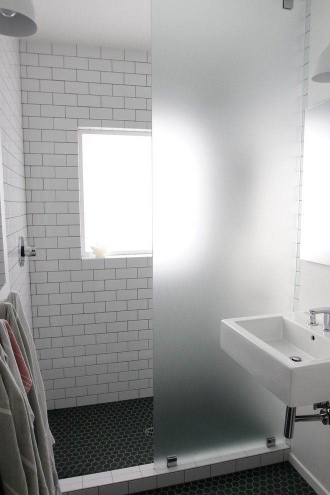 George Morlan Plumbing for a Contemporary Bathroom with a Subway Tile and Bathroom by Tess Bethune Interiors