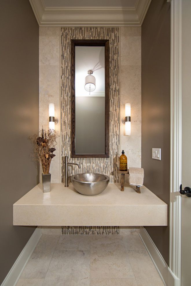 George Morlan Plumbing for a Contemporary Powder Room with a Beige Floor Tile and Modern Contemporary Powder Room with Travertine Tile by Miller + Miller Real Estate
