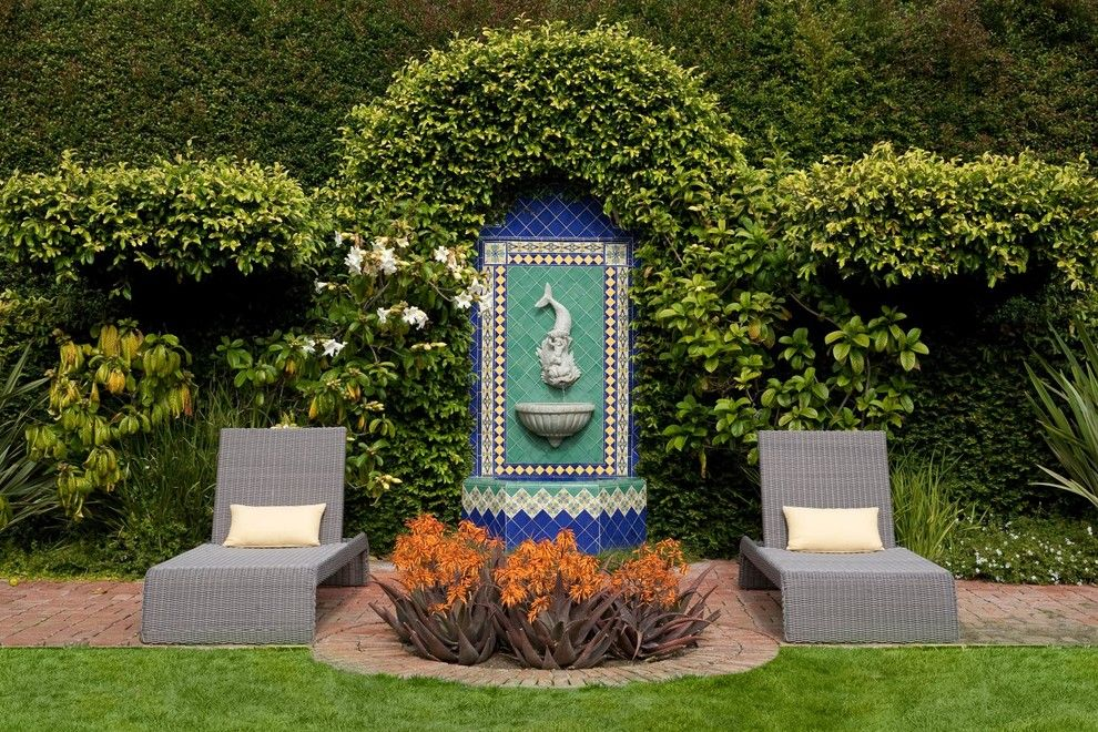 George Washington Toma for a Mediterranean Landscape with a Statue and George Washington Smiths Design Studio in Montecito by Lepere Studio