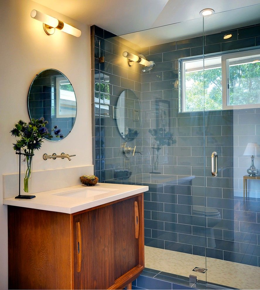 George Washington Toma for a Midcentury Bathroom with a Midcentury and Sonata Lane, Mount Washington by Peri Perry Productions