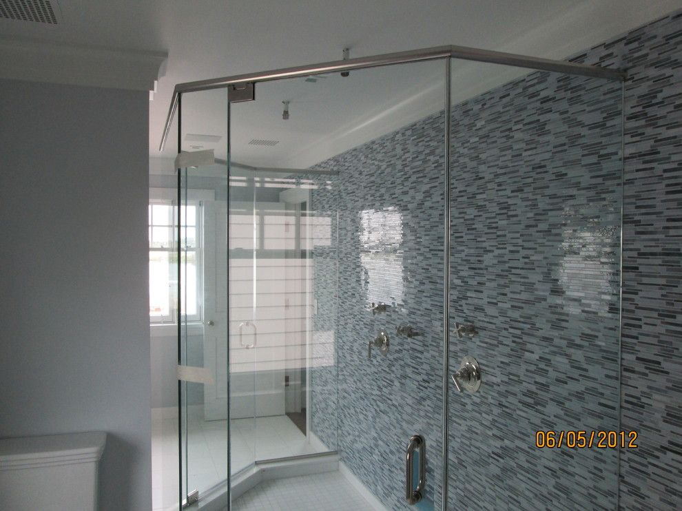 Glass Crafters for a Contemporary Bathroom with a Tiled Shower and Glasscrafters' Majestic Series   Neo Angle by Glasscrafters Inc