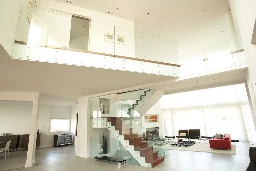 Glass Crafters for a Modern Staircase with a Glass Railing and Glasscrafters' Architectural Glass by Glasscrafters Inc