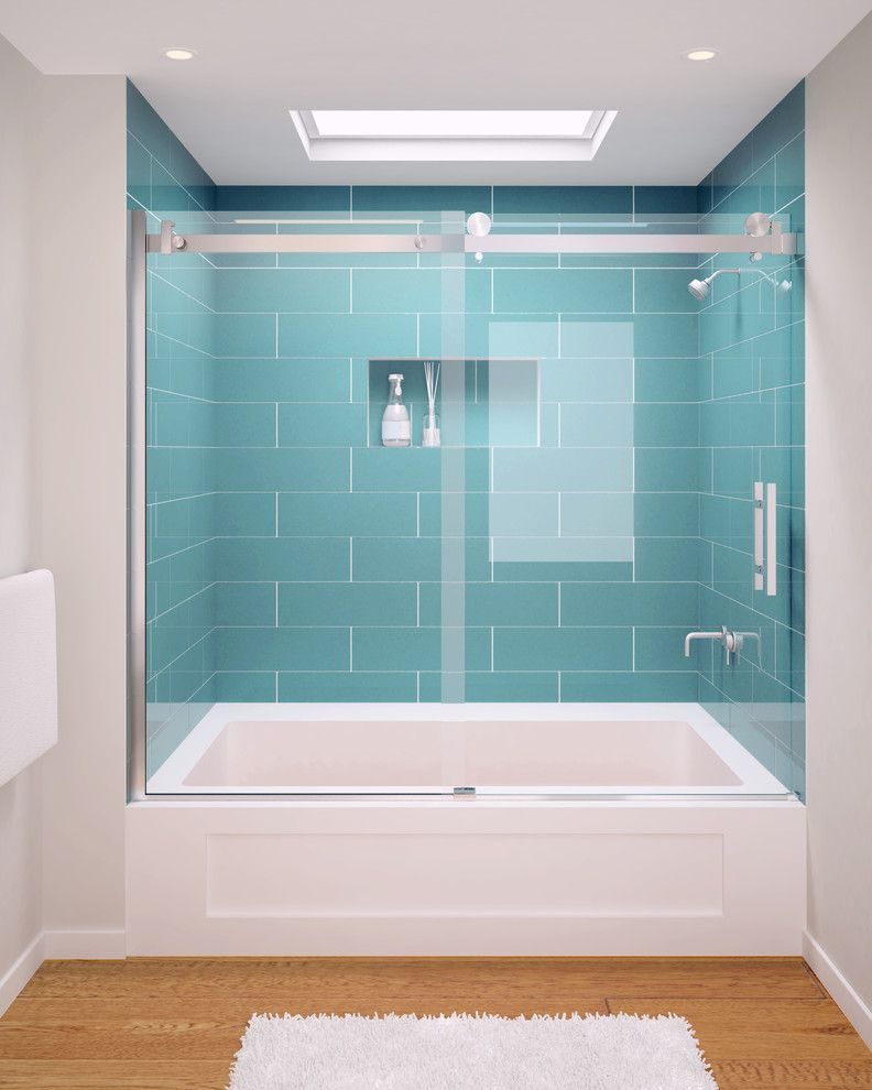 Glass Crafters for a Transitional Bathroom with a Machined Harware and Glasscrafters' Acero Series   Frameless Shower Enclosure   Tub Assembly by Glasscrafters Inc