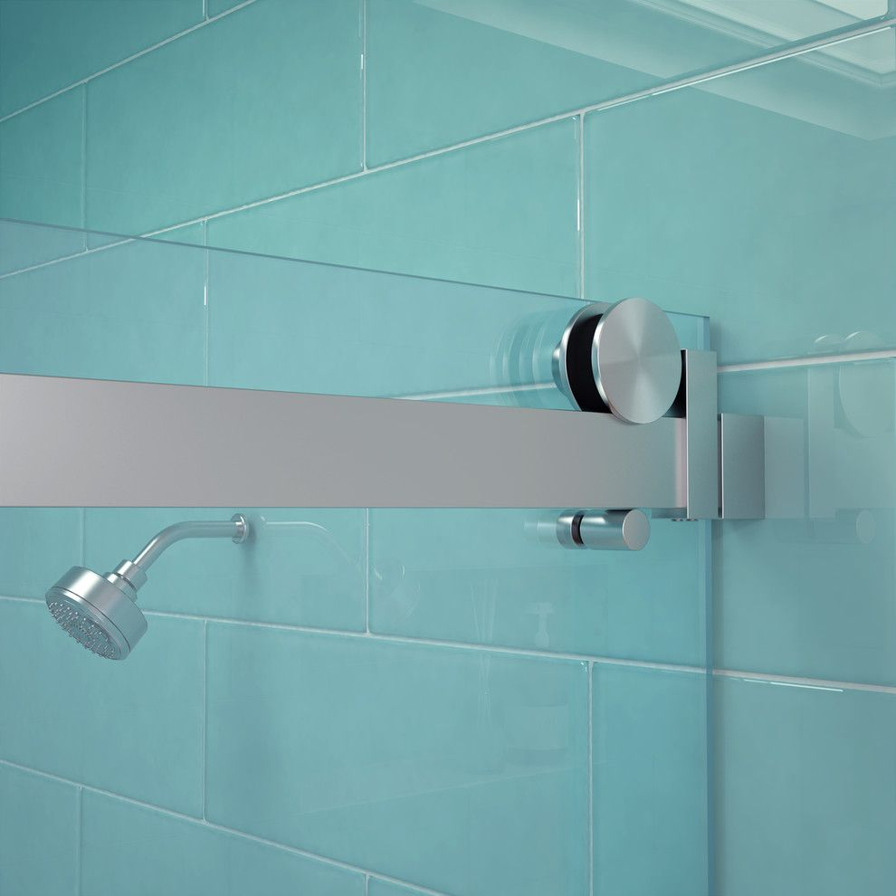 Glass Crafters for a Transitional Bathroom with a Shower Slider and Glasscrafters' Acero Series   Hardware Detail by Glasscrafters Inc