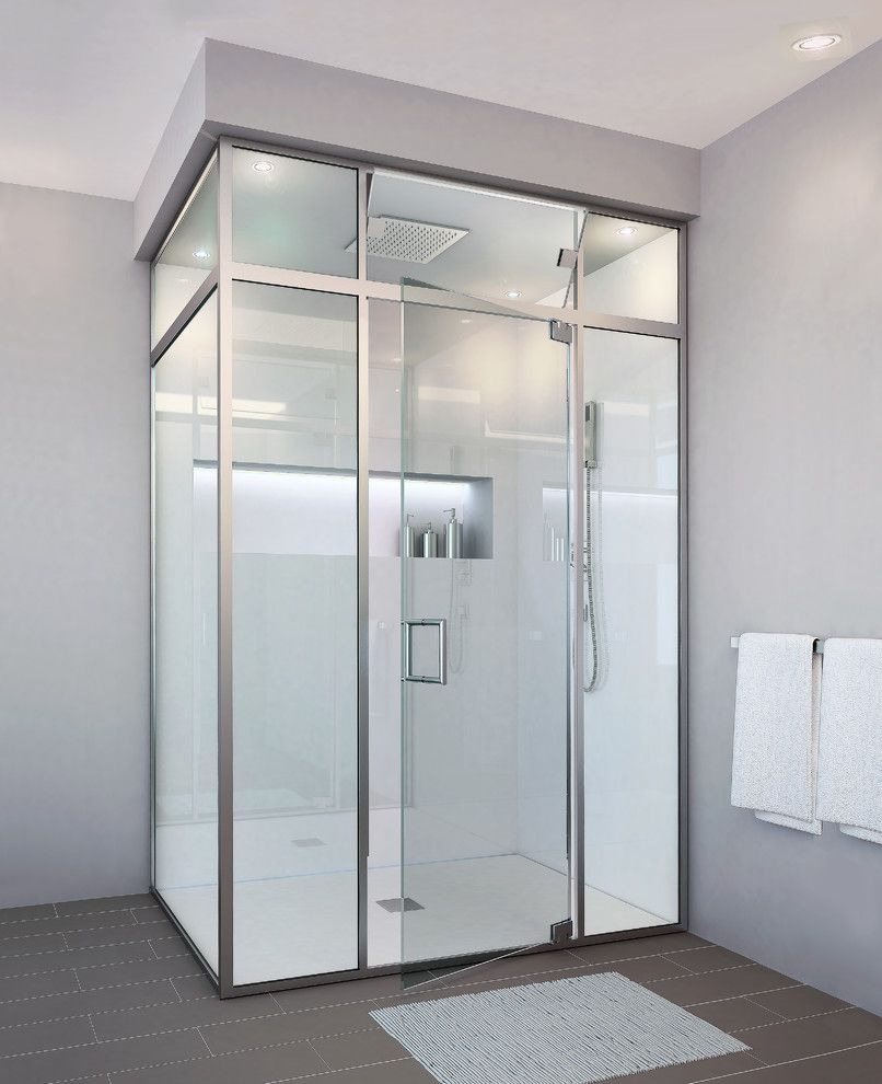 Glasscraft for a Contemporary Bathroom with a Shower Door Parts and Glasscrafters' Regal Hybrid Series   Frameless Shower Door by Glasscrafters Inc