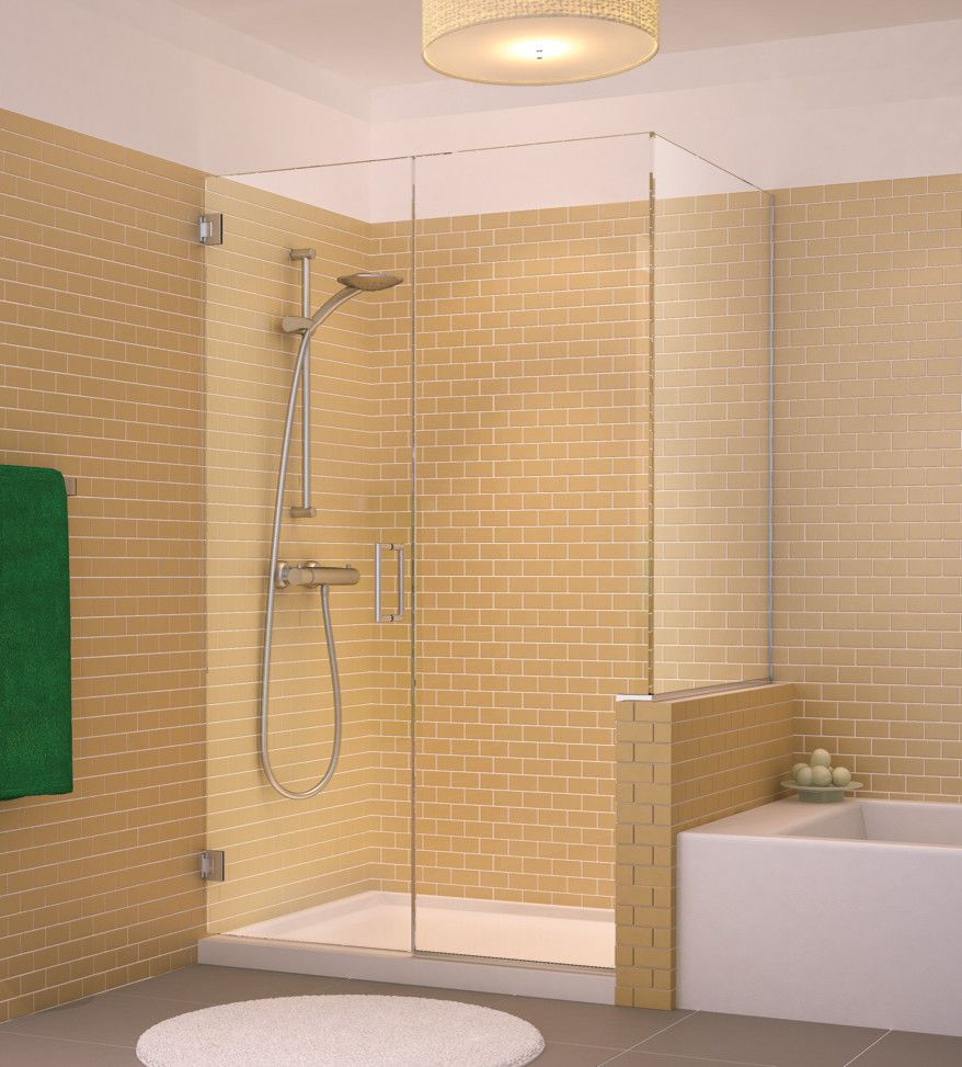Glasscraft for a Transitional Bathroom with a Brass Hardware and Glasscrafters' Royal Series   Frameless Shower Enclosure by Glasscrafters Inc