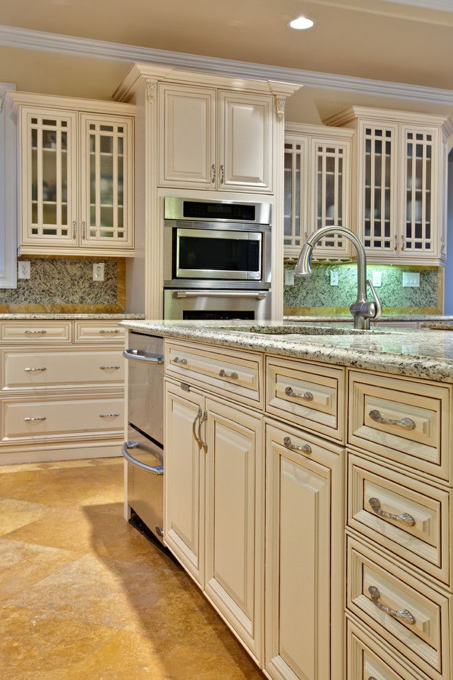 Glazing Cabinets for a Traditional Kitchen with a Under Cabinet Lighting and Teri Turan by Turan Designs, Inc.