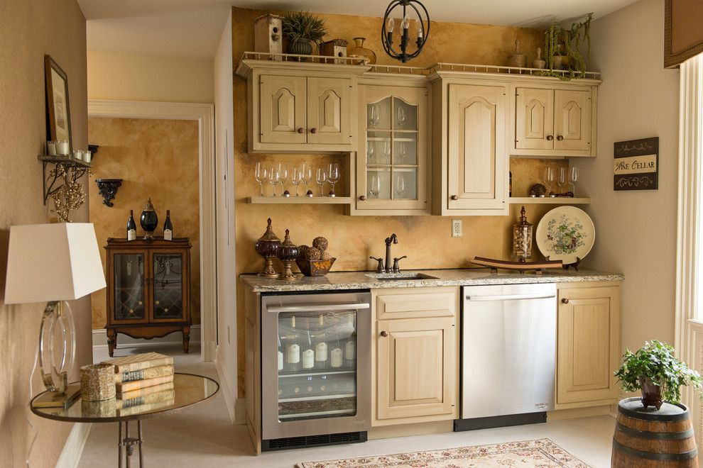 Glazing Kitchen Cabinets for a Rustic Home Bar with a Painted Glazed Kitchen Cabinets and Designer Showcase House/ware Mansion by Design Elements, Ltd