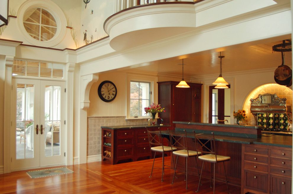 Glazing Kitchen Cabinets for a Traditional Home Bar with a Traditional and Hudson River House by Wallant Architect