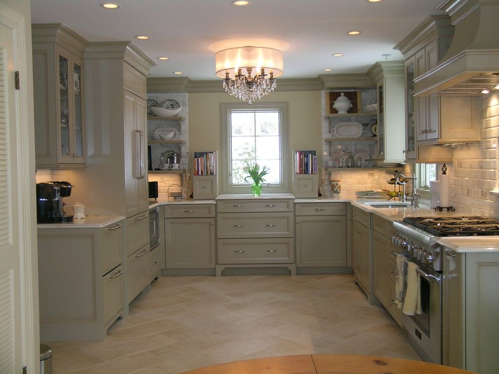 Glazing Kitchen Cabinets for a Traditional Kitchen with a Chandelier and Old World Elegance Meets Today's Today's Contemporary Space Requirements by Marlene Wangenheim Akbd, Caps, Allied Member Asid