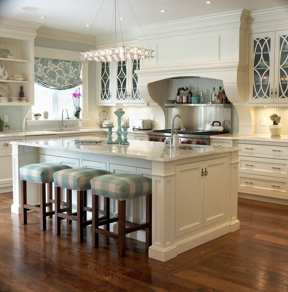 Glazing Kitchen Cabinets for a Traditional Kitchen with a Plaid Upholstery and Golf Club Renovation by Cheryl Scrymgeour Designs