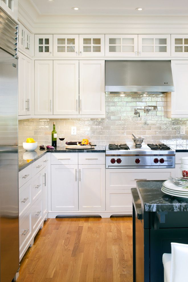 Glazing Kitchen Cabinets for a Victorian Kitchen with a White Wood and Shingle Style Kitchen Detail by LDa Architecture & Interiors