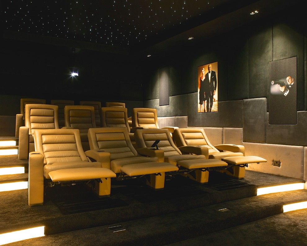 Glhomes for a Contemporary Home Theater with a Ceiling Lighting and Pudleston Home Cinema   Seats by Finite Solutions