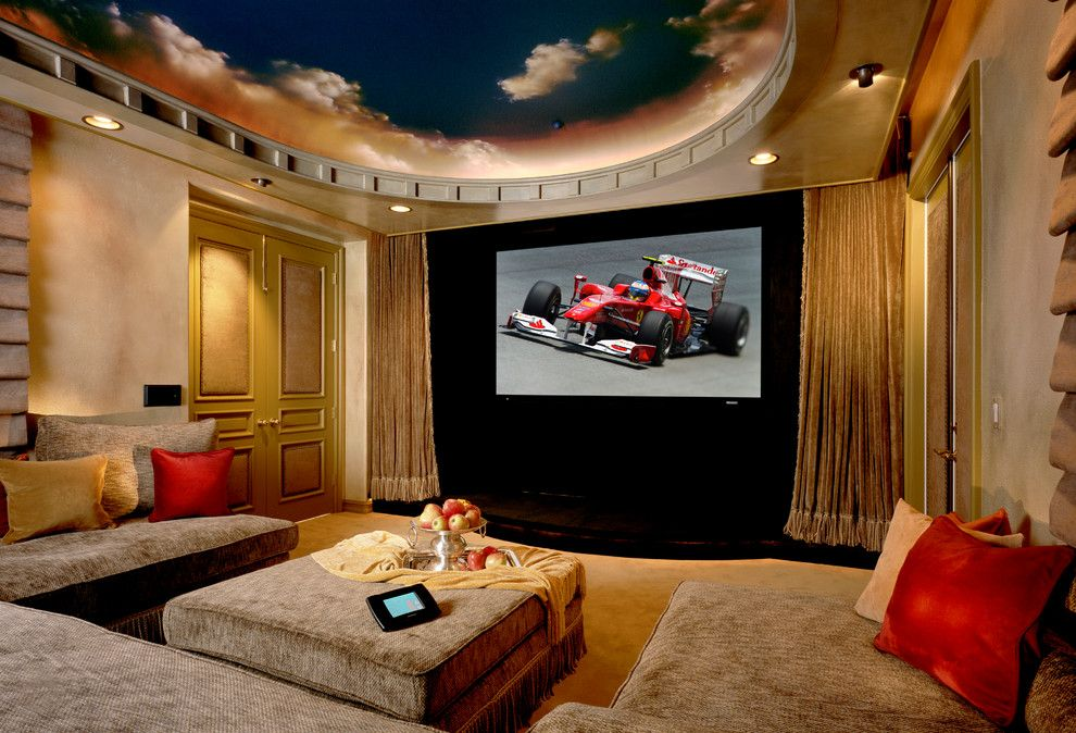 Glhomes for a Contemporary Home Theater with a Recessed Lighting and Bliss Home Theaters & Automation, Inc.   Www.blisshta.com by Bliss Home Theaters & Automation, Inc