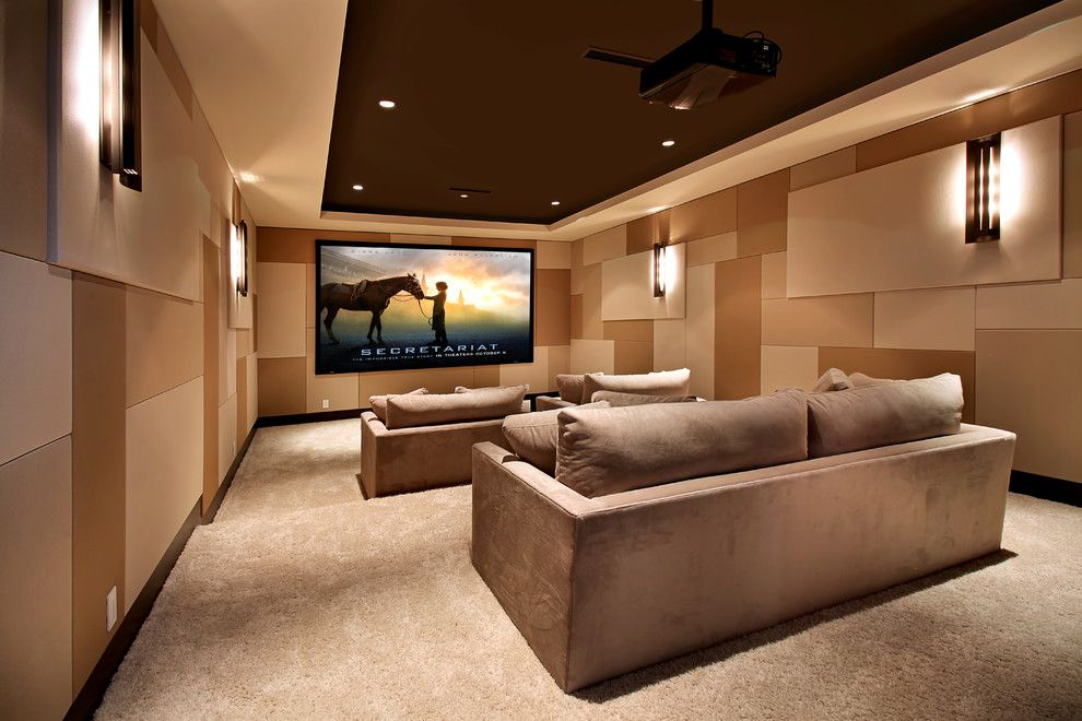 Glhomes for a Contemporary Home Theater with a Screening Room and Snug Harbor by Brandon Architects, Inc.