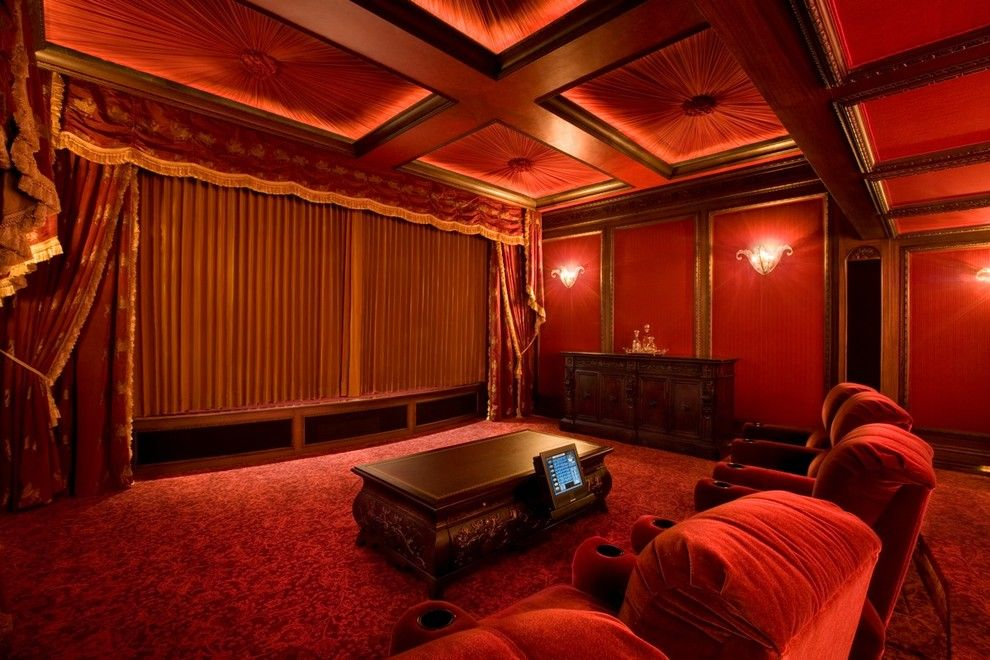 Glhomes for a Traditional Home Theater with a Coffe Table and Bliss Home Theaters & Automation, Inc.   Www.blisshta.com by Bliss Home Theaters & Automation, Inc