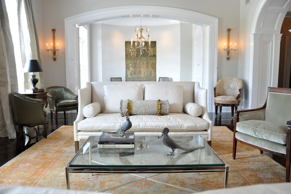 Godby Furniture for a Traditional Living Room with a Large Oushak and Kathleen Clements Design by Woven Accents, Inc.