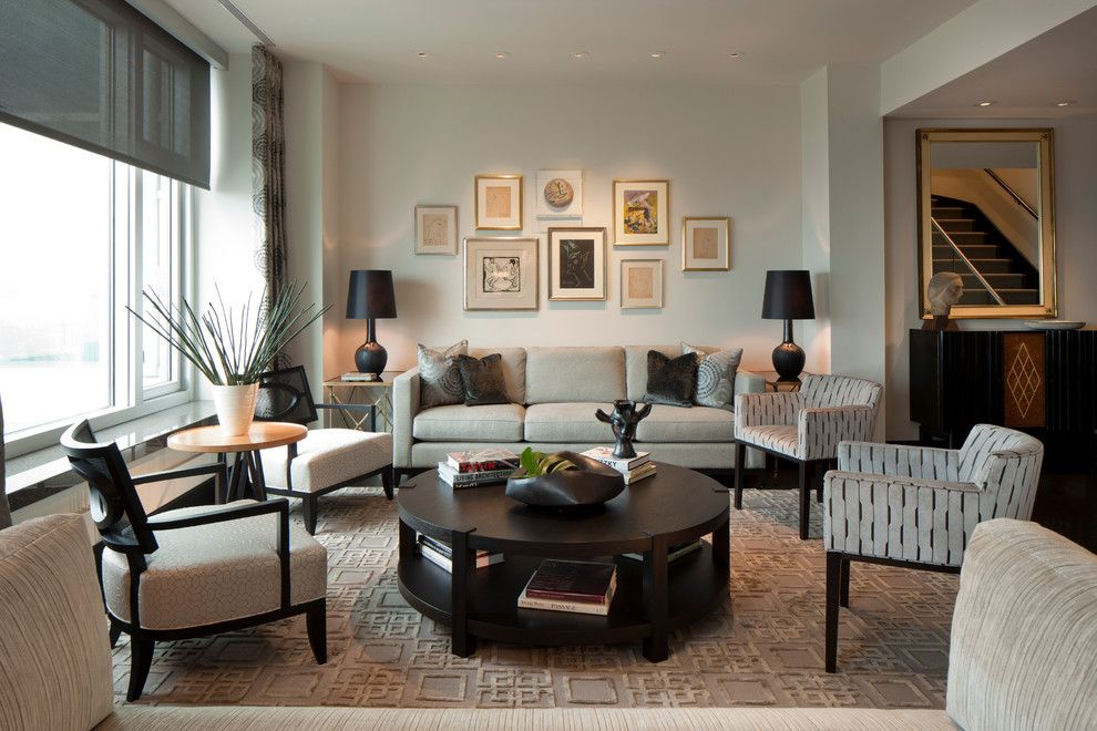 Godby Furniture for a Transitional Living Room with a Area Rug and Delaware Place by Michael Abrams Limited