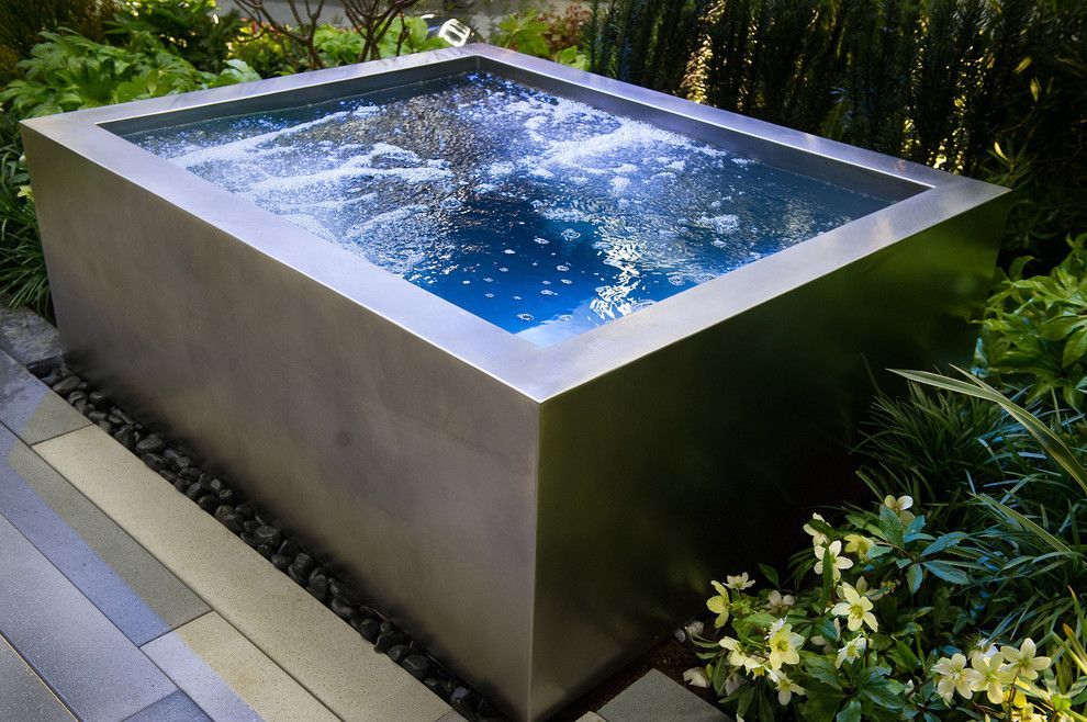 Gold Medal Pools for a Modern Pool with a Terra Sculpture and Northwest Flower & Garden Show 2013 by Sublime Garden Design, Llc