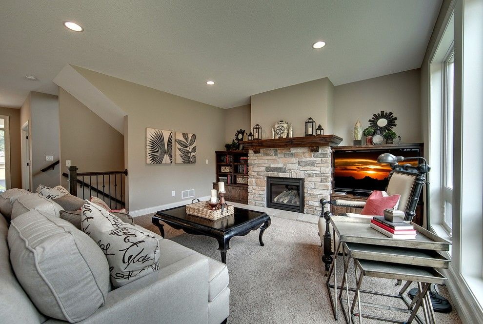 Gonyea Homes for a Traditional Living Room with a Media Wall and Living Room – Emerald Falls – 2014 Spring Parade by Gonyea Homes & Remodeling