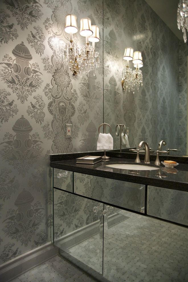 Gonzalez Furniture for a Contemporary Powder Room with a Stand Towel Ring and Manhattan Penthouse by Reynaldo Gonzalez Design