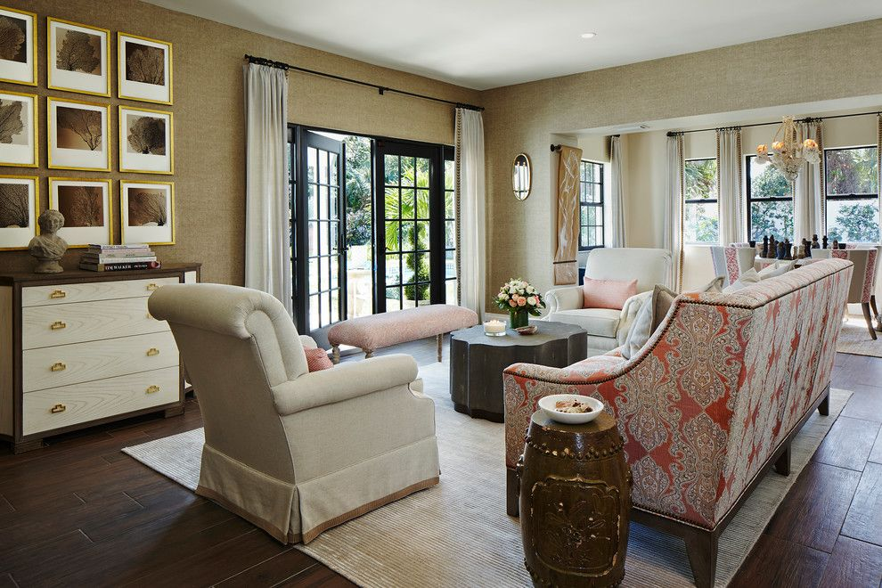 Gonzalez Furniture for a Transitional Living Room with a Neutral and 2015 American Red Cross Designers' Showhouse by Piper Gonzalez Designs