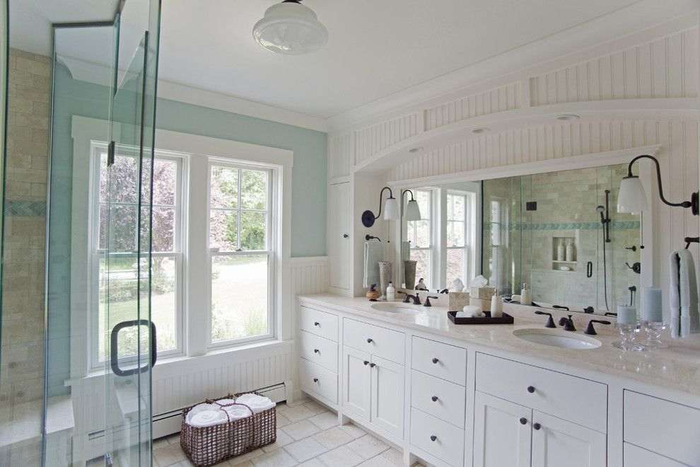 Gossamer Blue for a Beach Style Bathroom with a White Molding and Fair Winds by Taste Design Inc