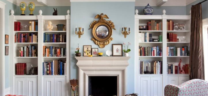 Gossamer Blue for a Eclectic Living Room with a Polka Dot and White Custom Bookcases by Keith Bruns Woodworking