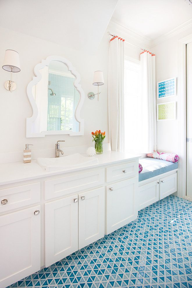 Gossamer Blue for a Transitional Bathroom with a White and Blue Bathroom and Bryn Mawr by Tmh Designs