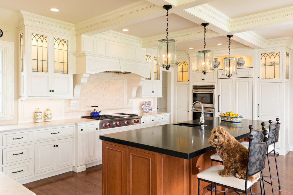 Gothic Cabinet for a Traditional Kitchen with a Leaded Glass and Osterville Kitchen Featured on Houzz as