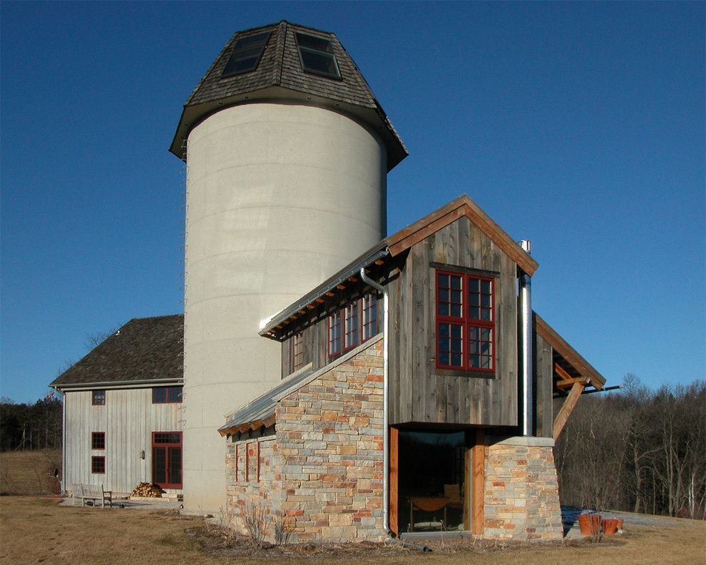 Grain silo homes for a traditional exterior with a for Silo home designs