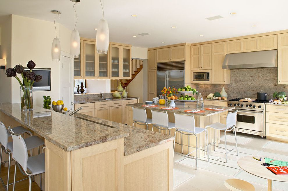 Granite Countertop Edges for a Beach Style Kitchen with a Bar Stools and Beach Style Kitchen by Lindaburkhardt.com
