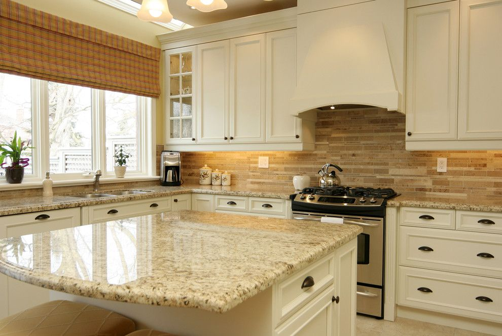 Granite Countertop Edges for a Traditional Kitchen with a Tile Backsplash and Jennifer Brouwer Design Inc by Jennifer Brouwer (Jennifer Brouwer Design Inc)