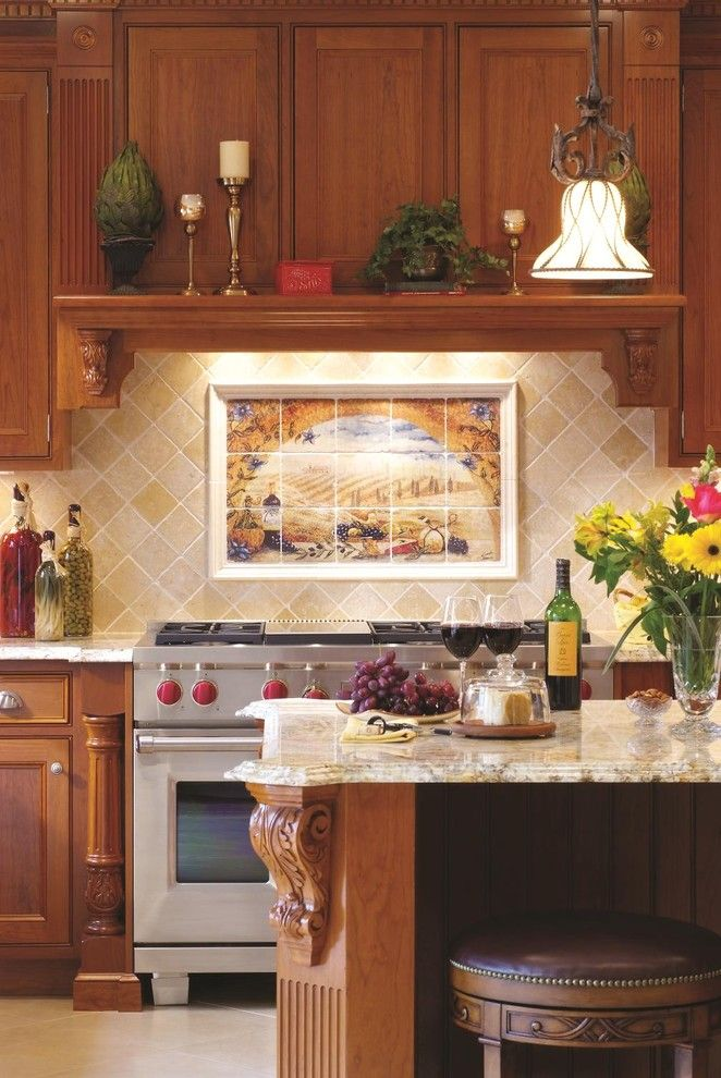 Granite Edges for a Mediterranean Kitchen with a Waterfall Edge and Snell Kitchen 6 by Cameo Kitchens, Inc.