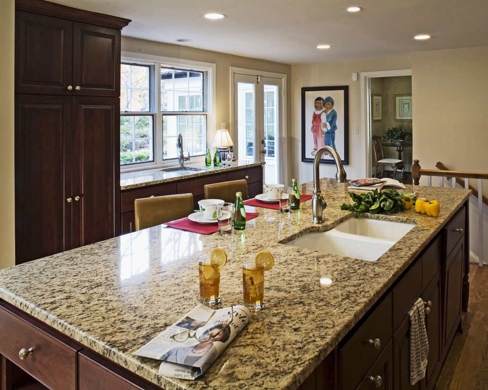 Granite Edges for a Traditional Kitchen with a Ceiling Lighting and Case Design/Remodeling, Inc. by Case Design/Remodeling, Inc.