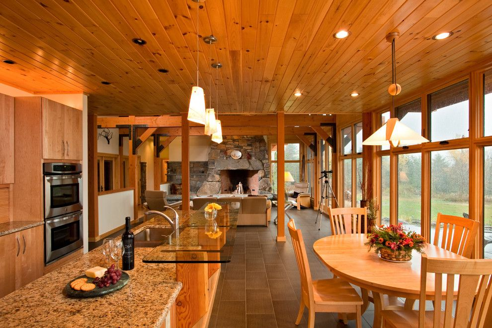 Granite Edges for a Traditional Kitchen with a Open Floorplan and Saranac Lake House by Phinney Design Group