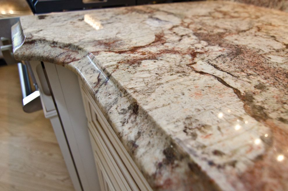 Granite Edges for a Traditional Kitchen with a Red Granite and Typhoon Bordeaux Granite with Full Backsplash by Granite Grannies