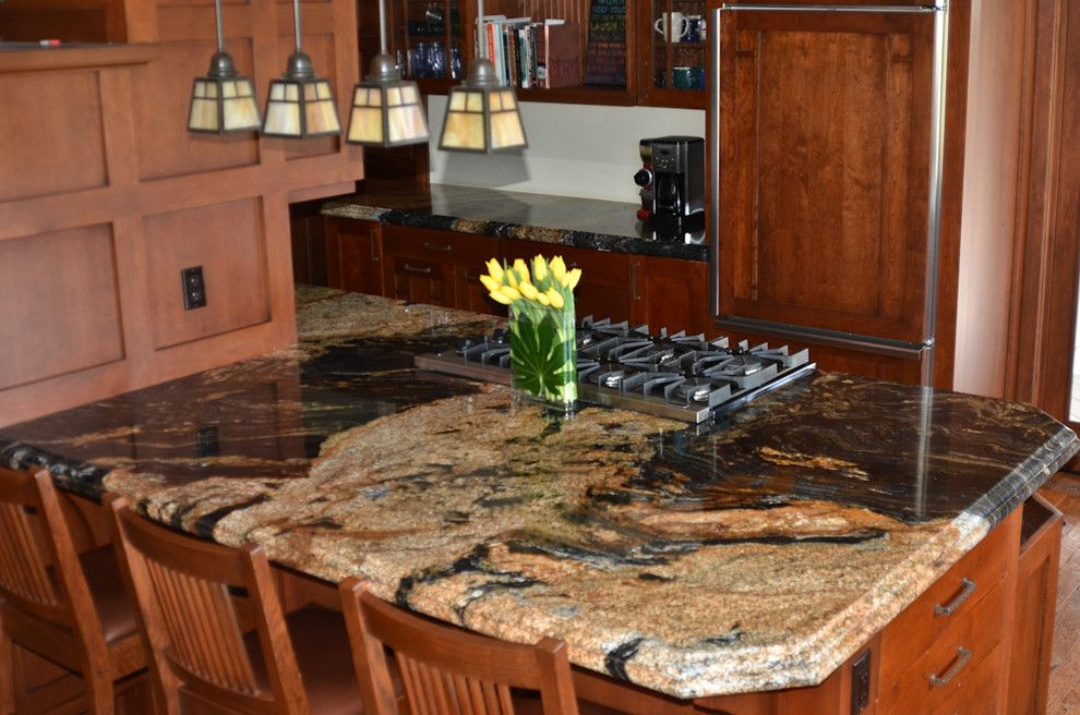 Granite Imports for a Traditional Kitchen with a Sedna and Sedna Granite by Granite Imports