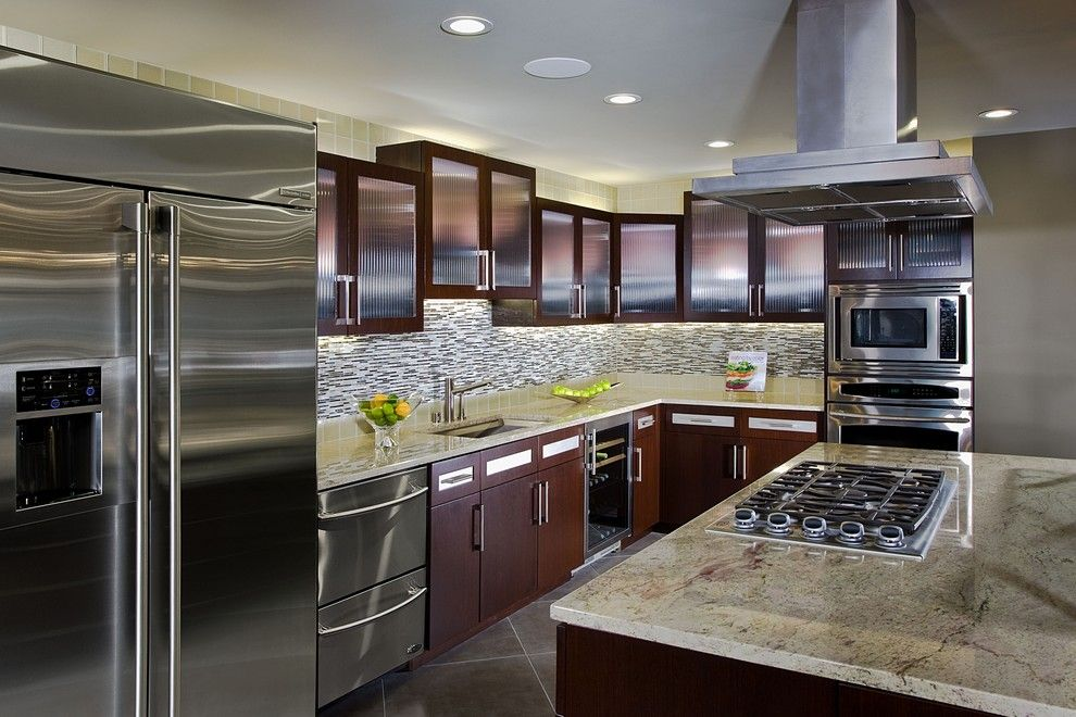 Granite State Glass for a Contemporary Kitchen with a Frosted Glass Cabinet and Contemporary Kitchen by Design Focus