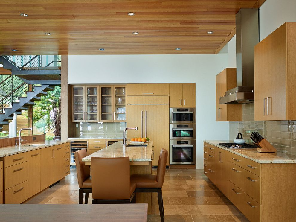 Granite State Glass for a Contemporary Kitchen with a Wood Cabinets and Courtyard House by Deforest Architects